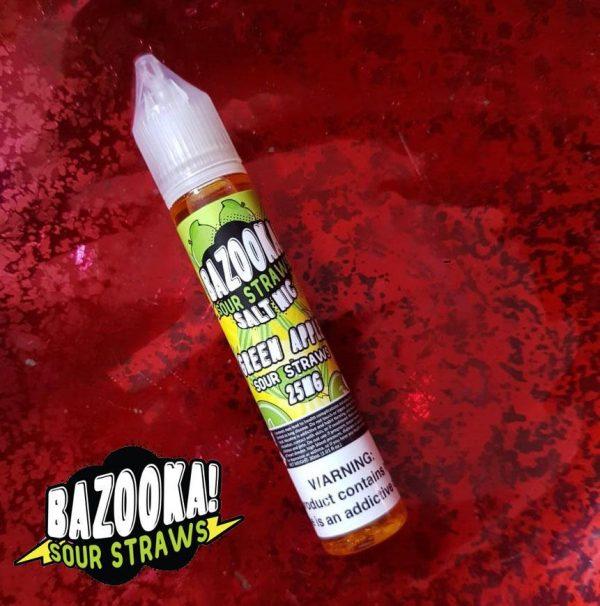 Green Apple Sour Straws 25mg by Bazooka Saltnic