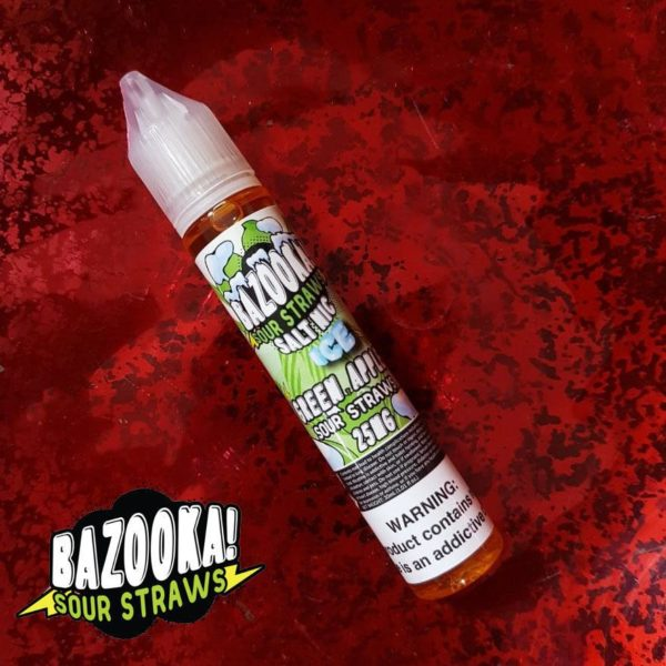 Green Apple Ice Sour Straws 25mg by Bazooka Saltnic